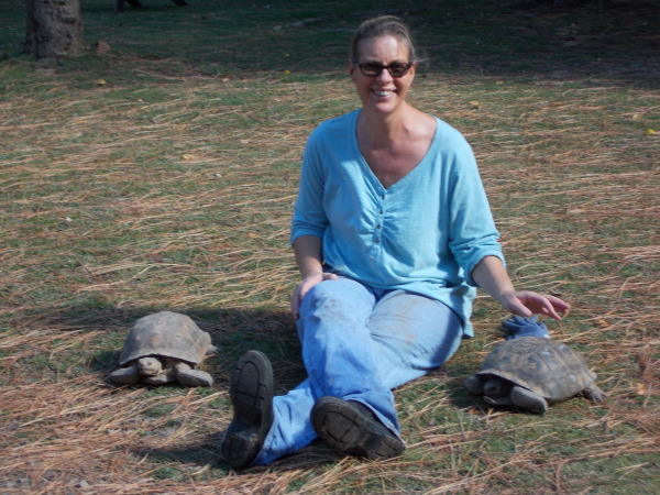 Woman with desert tortoises